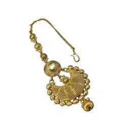 Buy Designer Gold Plated & Stylish golden Pearl Maang Tikka for bridal women Jewellery Tikka maang-tikka online