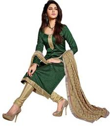 Buy Green embroidered banarasi silk unstitched salwar with dupatta straight-suit online