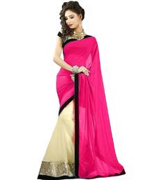 Buy Pink plain georgette saree with blouse georgette-saree online
