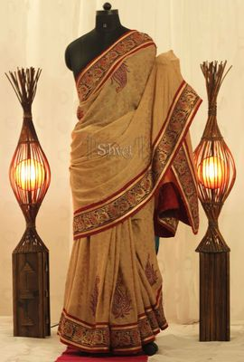 Beige and Maroon Embroidered Saree