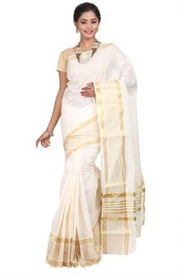 cream woven cotton saree