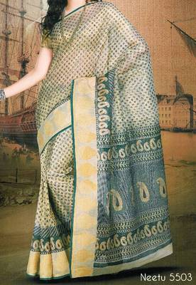 Supernet saree - Super net sari - Printed Saree - Ethnic border - With blouse - 902641 5503