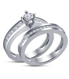 Buy Engagement & Wedding Band Bridal Ring Set In 1.00 CT Rd White Simulated Diamond cubic-zirconia-cz-ring online