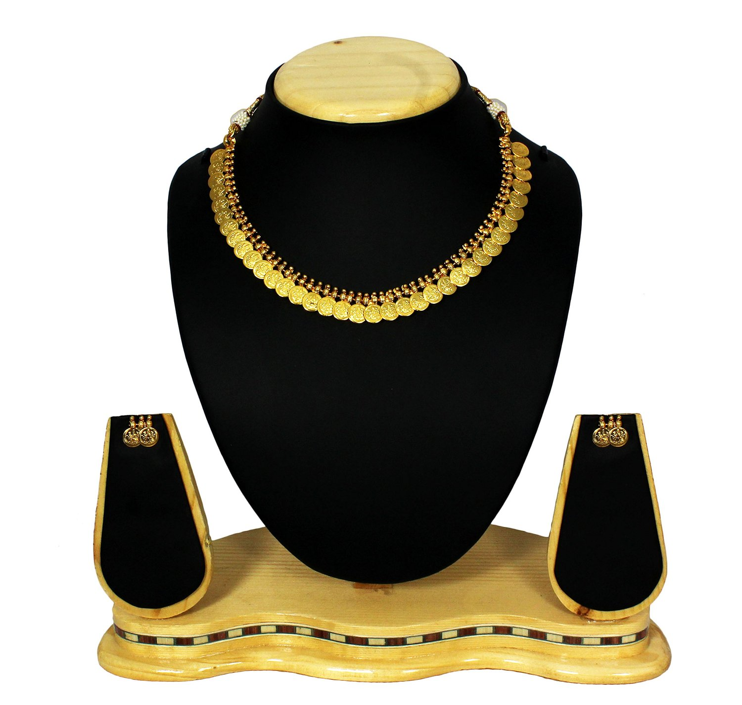 Buy Gold Plated Temple Coin Necklace Set Artificial Jewellery Online
