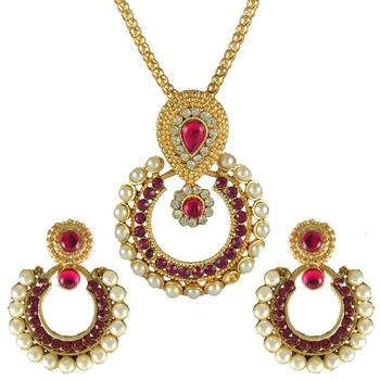 Ethnic Indian Bollywood Fashion Jewelry Set Elegant Pendant Set