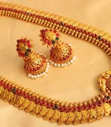 Buy Gorgeous goldplated multicolour lakshmi pendant mango haar with jhumkka-Dj08087 necklace-set online