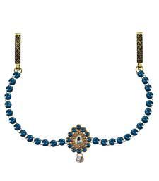 Buy Waist belt Gold platted Blue Color stone waist-belt online