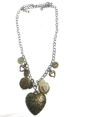 Heart necklace with coins design