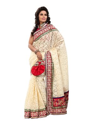 Fabdeal Wheat & Red Banarasi Saree With Blouse Piece