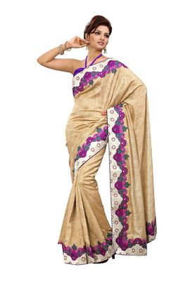 Fabdeal White & Pink Bhagalpuri Jacquard Silk Saree With Blouse Piece