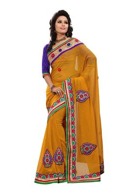 Fabdeal Mustered Chiffon Saree With Blouse Piece