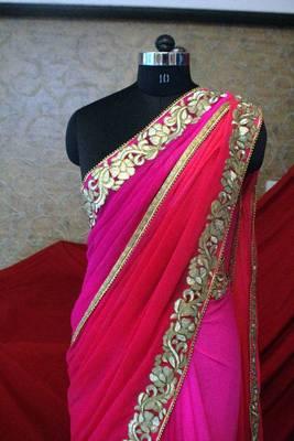 Saree - Bright Pink Chiffon Saree