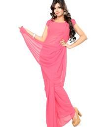 Buy Deep pink plain georgette saree with blouse below-400 online