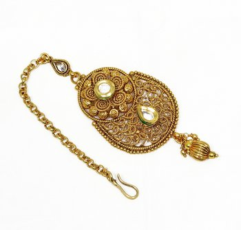 Traditional & Designer Maang Tikka with White Kundan Stone Fashion Jewellery for Modern Women