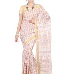 Buy cream printed cotton saree with blouse bengali-saree online