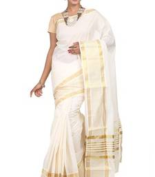 Buy cream woven cotton saree with blouse kerala-saree online