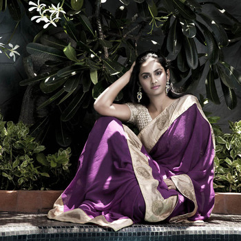 The Orchid Beauty Crochet Party Wear Saree | Lavender