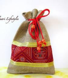 Buy Jute and Maroon printed bag potli-bag online