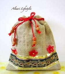 Buy Jute and Green embroidered bag potli-bag online