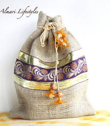 Buy Jute and Purple embroidered bag potli-bag online