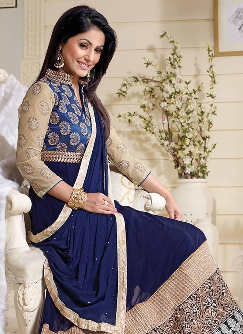 Buy Styles Closet Navy Blue Georgette Semi Stitched Salwar