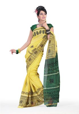 Fabdeal Lamon Yellow & Green Colored Linen Silk Saree With Unstiched Blouse