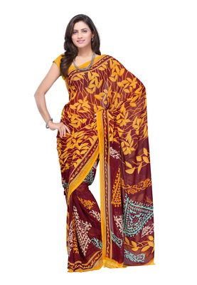 Fabdeal Brown & Yellow Colored Faux Georgette Saree With Unstiched Blouse