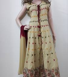 Buy Brown embroidered cotton  stitched salwar with dupatta readymade-suit online