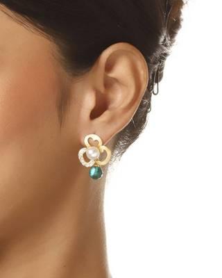Aradhyaa Floral Green Bead & CZ Earrings