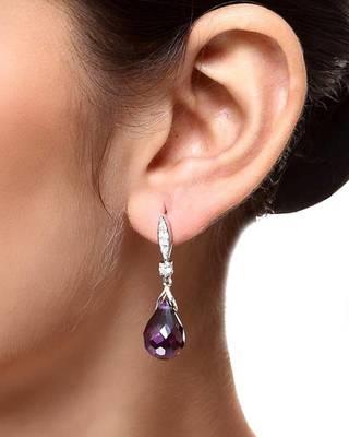 Aradhyaa Purple Crystal Drop Earrings