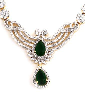 Aradhyaa Green & White Teardrop AD Necklace Set