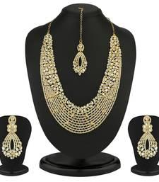 Buy Dazzling Gold Plated Australian Diamond Necklace Set necklace-set online