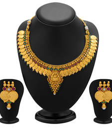 Buy Graceful Gold Plated  Temple Jewellery Coin Necklace Set for Women necklace-set online