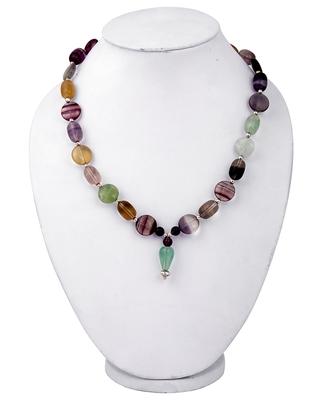 """Multi Flourite 18"""" Gemstone Beads Fashion Necklace"""