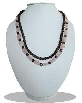 """Smoky and Rose Quartz 18"""" Beads Designer Necklace"""
