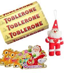 Buy Santa Claus Hanging n Toblerone Choco Bars Hamper 120 christmas-gift online