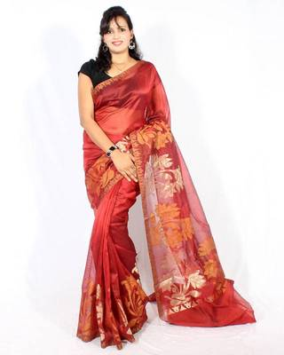 Oraganza cotton fancy banarasi Aanchal Border saree