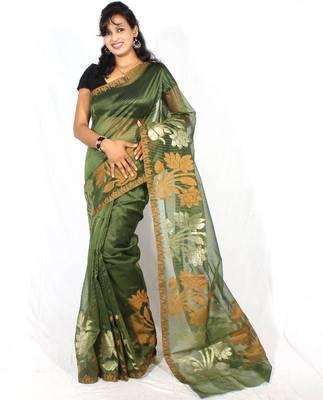 Oraganza cotton fancy banarasi Aanchal Border saree