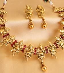 Buy DIVINE ANTIQUE KEMP GANESHA NECKLACE SET-DIVINE ANTIQUE KEMP GANESHA NECKLACE SET-DJ00776 necklace-set online