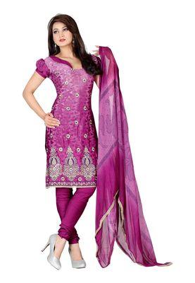 Fabdeal Dark Violet Colored Crepe Jacquard Unstitched Salwar Suit