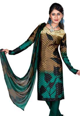 Fabdeal Golden Colored Crepe Jacquard Unstitched Salwar Suit
