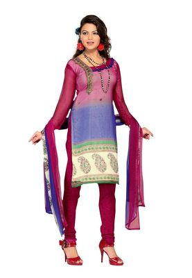 Fabdeal Magenta Colored Chiffon Unstitched Salwar Suit