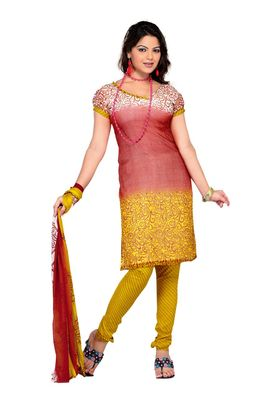 Fabdeal Salmon Colored Chiffon Unstitched Salwar Suit