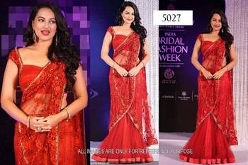 Sonakshi Sinha in Red Lehenga in Bridal Fashion Week
