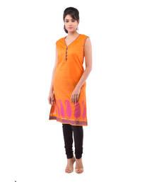 Buy Orange Chanderi plain kurti plus-size-kurtis online