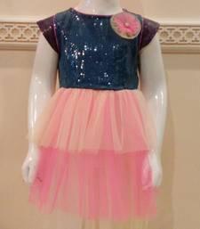 Buy pink and purple georgettee and sequin plain kids frock kids-frock online
