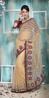 Crochet net saree
