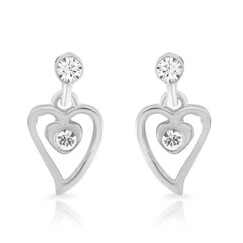 Mahi Rhodium Plated Ebullient Earring With Crystals