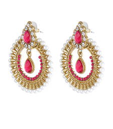 Buy The Deep Salmon ChandBali Earrings hoop online