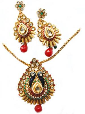 Golden Maroon Peacock Party Pendant Set